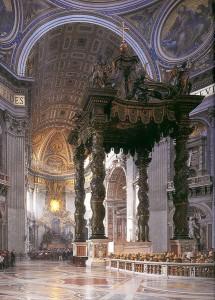 Sevärdheter/kyrkor i Rom: Peterskyrkan- Baldachhino (högaltare) av Bernini